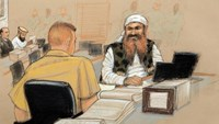 Khalid Sheikh Mohammed, (R), the alleged mastermind of the September 11 attacks, speaks with his defense lawyer on the third day of pre-trial hearings in the 9/11 war crimes prosecution as depicted in this Pentagon-approved courtroom sketch at the U.S. Naval Base Guantanamo Bay, Cuba, October 17, 2012.