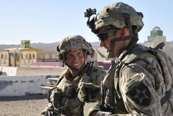 Staff Sgt. Robert Bales, (L) 1st platoon sergeant, Blackhorse Company, 2nd Battalion, 3rd Infantry Regiment, 3rd Stryker Brigade Combat Team, 2nd Infantry Division, is seen during an exercise at the National Training Center in Fort Irwin, California, in this August 23, 2011 DVIDS handout photo.