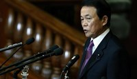 Japan's Deputy Prime Minister and Finance Minister Taro Aso gives the financial address during an ordinary session of the parliament in Tokyo January 26, 2015.