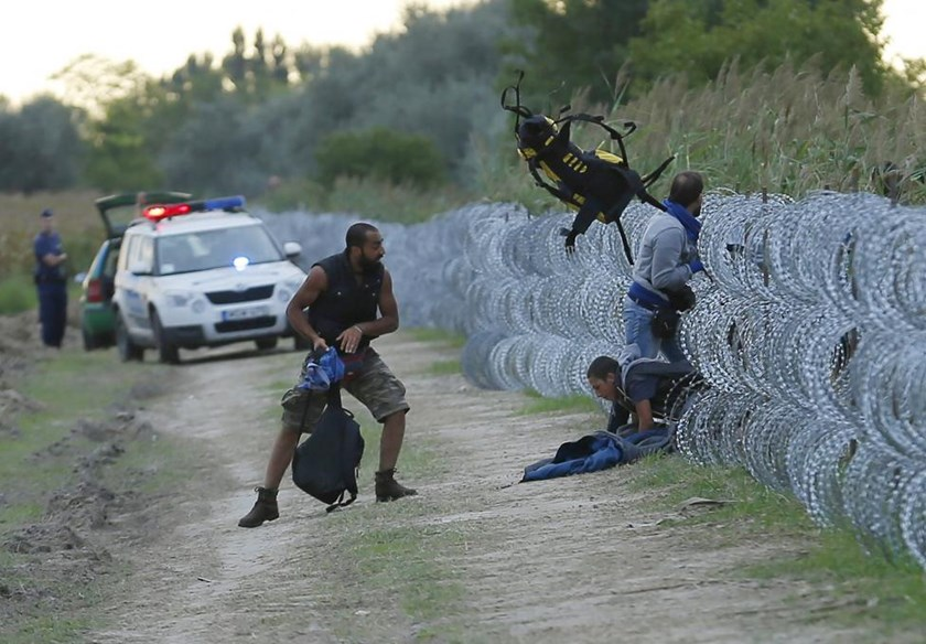 Hungarian police positioned nearby watch as Syrian migrants climb under a fence to enter Hungary at the Hungarian-Serbian border near Roszke, Hungary August 26, 2015.
