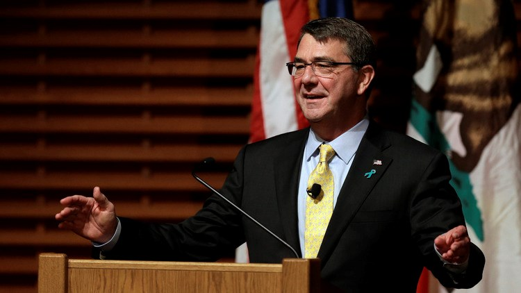 Defense Secretary Ashton Carter gestures during a speech Thursday, April 23, 2015, in Stanford, CA, U.S. Photographer: Ben Margot/AP Photo