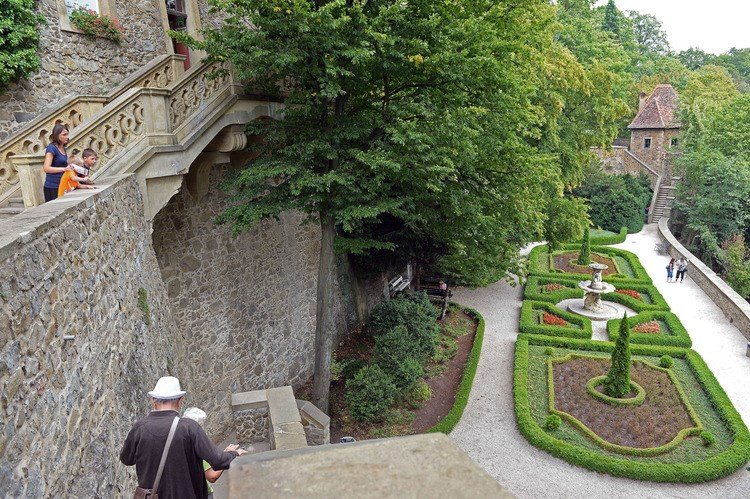 People walk inside the Ksiaz castle in Walbrzych, near where the 'Nazi gold train' is supposedly hidden, on Aug. 28.