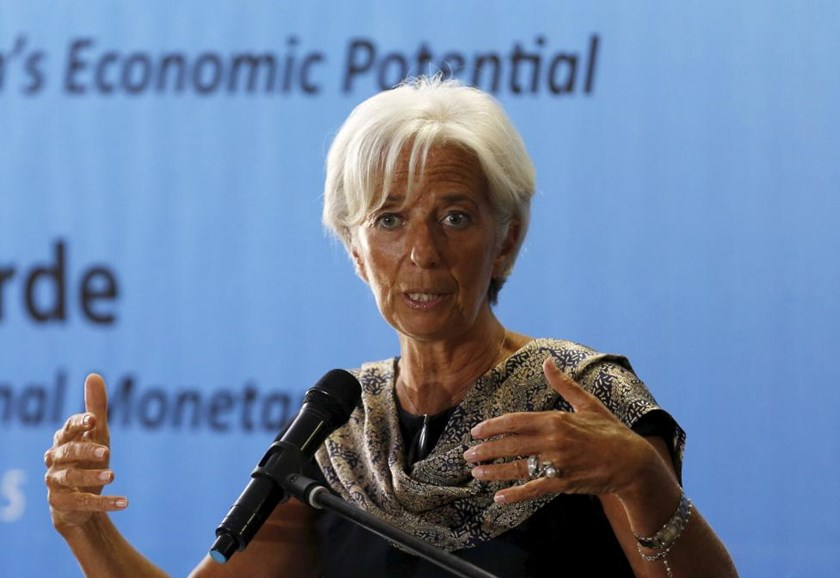 International Monetary Fund (IMF) Managing Director Christine Lagarde gestures during a speech at a public lecture at the University of Indonesia in Jakarta September 1, 2015.