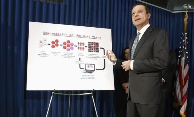 U.S. Attorney for the Southern District of New York Preet Bharara holds a news conference on the Gozi Virus in New York January 23, 2013.