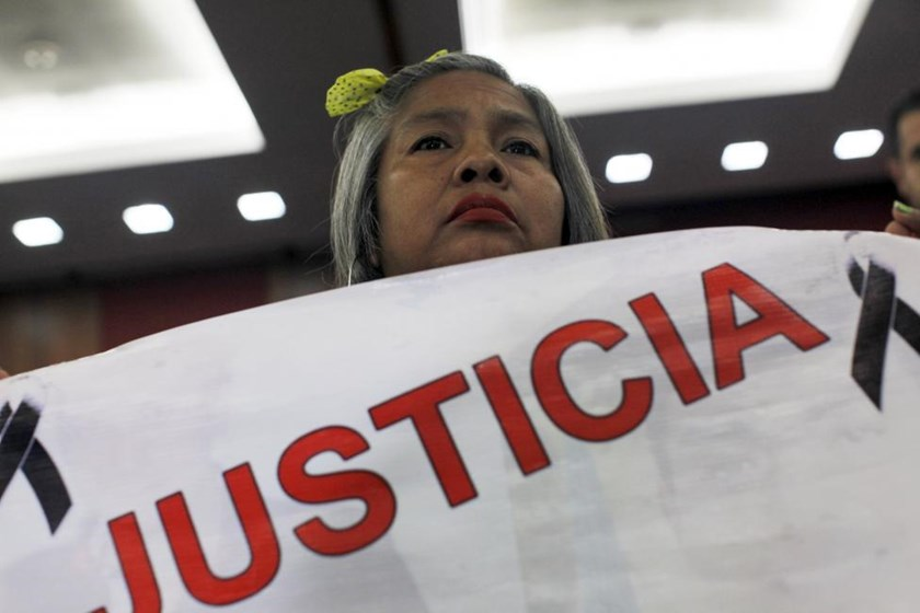Berta Nava, mother of Julio Cesar Nava, one of the 43 missing students from the Ayotzinapa teachers' training college, attends a report given by members of a team of international experts in Mexico City September 6, 2015.