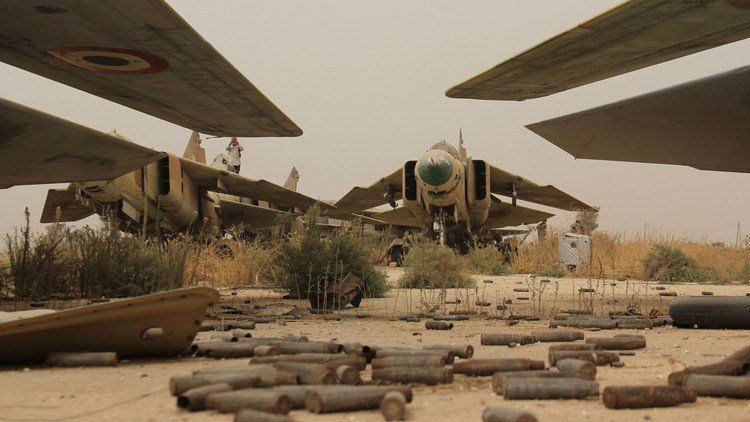 A view of former Syrian army MiG-23 fighter jets at the Abu Duhur military airport, the last regime-held military base in northwestern Idlib province.