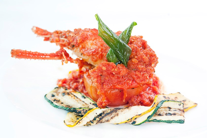 Panfried King Prawn Organic Herbs Fresh Tomato Sauce