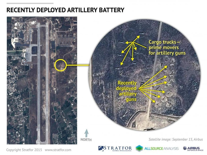 An Airbus Defence and Space satellite image courtesy of Stratfor, a geopolitical intelligence and advisory firm in Austin, Texas, shows the air base at Latakia, Syria on September 15, 2015.