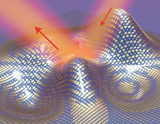 Light reflects off the cloak (red arrows) as if it were reflecting off a flat mirror in this 3D illustration of a metasurface skin cloak made from an ultrathin layer of nanoantennas (gold blocks) covering an arbitrarily shaped object is shown in this handout image courtesy of Xiang Zhang group on September 17, 2015.