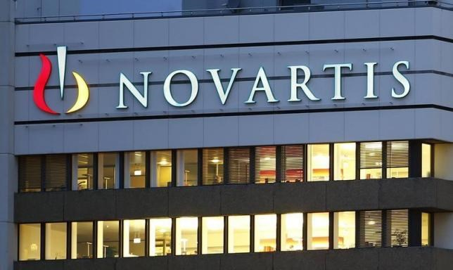 The logo of Swiss drugmaker Novartis is seen at its headquarters in Basel, October 22, 2013.