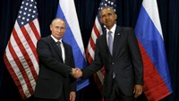 U.S. President Barack Obama shakes hands with Russian President Vladimir Putin during their meeting at the United Nations General Assembly in New York September 28, 2015.