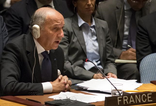 France's Foreign Minister Laurent Fabius speaks at the U.N. Security Council meeting on counter-terrorism during the United Nations General Assembly at the United Nations headquarters in Manhattan, New York September 30, 2015.