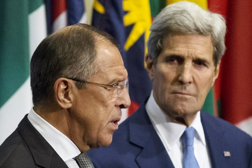 Russian Foreign Minister Sergei Lavrov (L) and U.S. Secretary of State John Kerry speak to the media regarding the current situation in Syria, at the United Nations headquarters in Manhattan, New York September 30, 2015.