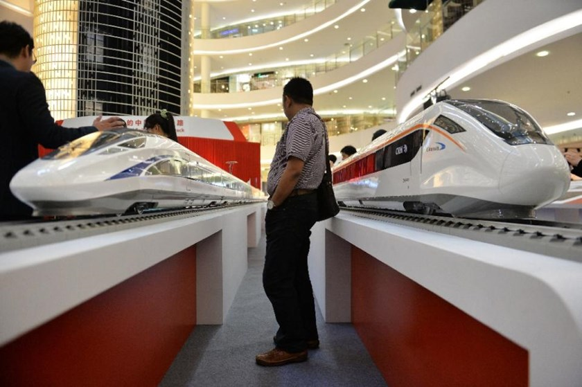Scale models of Chinese-made bullet trains on exhibition at a shopping mall in Jakarta on August 13, 2015