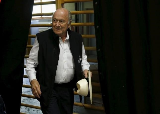 FIFA President Sepp Blatter arrives for a news conference aside of the so-called ''Sepp Blatter tournament'' in Blatter's home-town Ulrichen, Switzerland, August 22, 2015.
