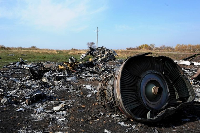 A picture taken on October 15, 2014 shows the wreckage of Malaysia Airlines flight MH17 near the village of Rassipnoe