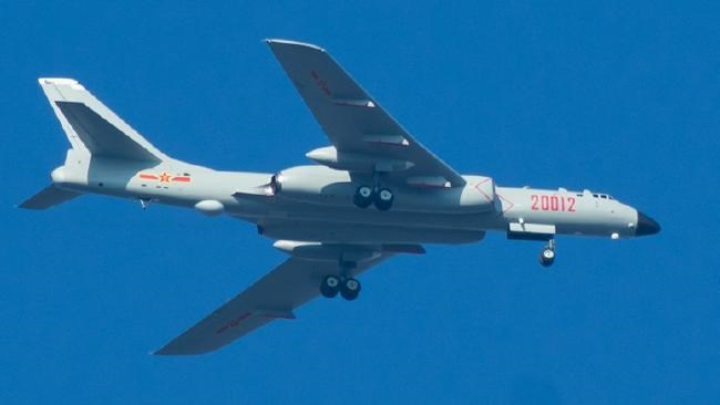 Long reach ... A view of China's new strategic bomber, the H-6K. Source: PLA