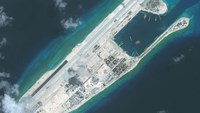 DigitalGlobe imagery of the nearly completed construction within the Fiery Cross Reef located in the South China Sea. Fiery Cross is located in the western part of the Spratly Islands group, which is claimed by Vietnam. Photo DigitalGlobe via Getty Images.