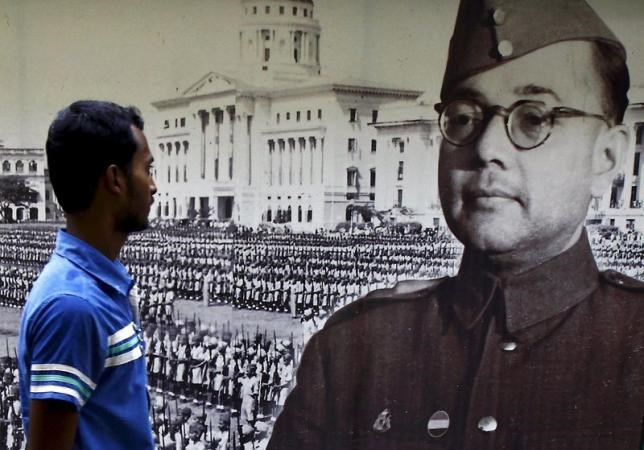 A visitor looks at a picture of Subhas Chandra Bose, former leader of the Indian National Army, at a museum in Kolkata, India, October 16, 2015.
