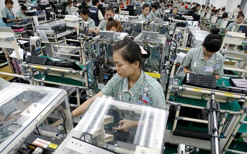 Workers at a Samsung Electronics factory in northern Vietnam
