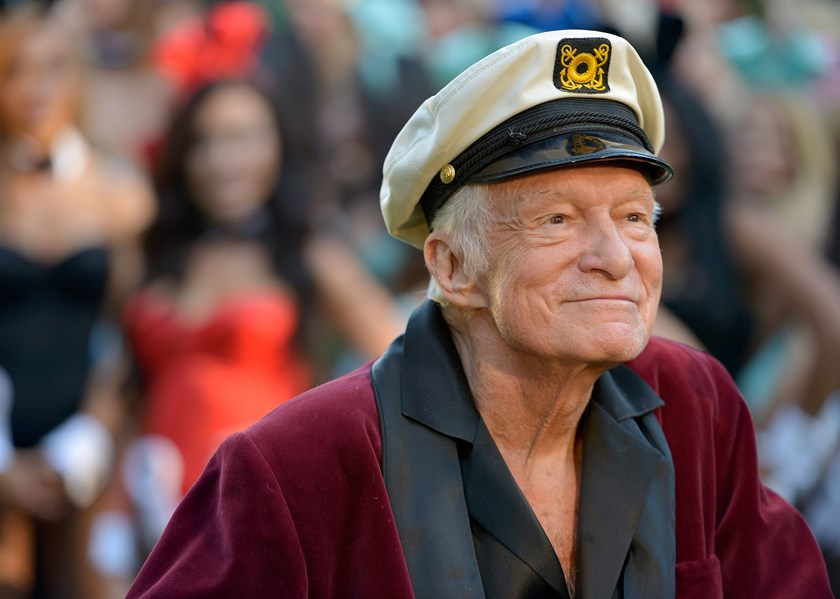 Hugh Hefner poses at Playboy's 60th Anniversary special event on Jan. 16, 2014 in Los Angeles.