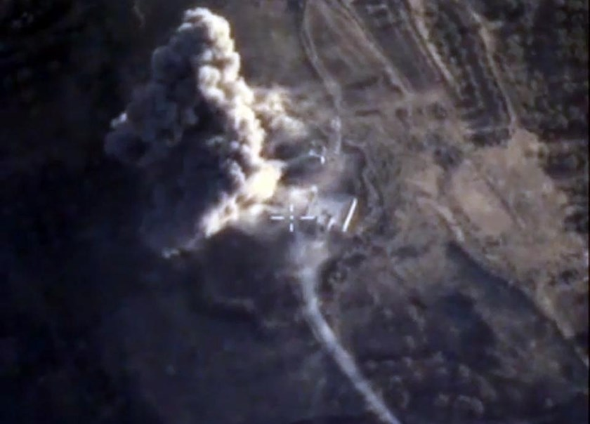 Russia's Defence Ministry released images showing an airstrike carried out by its warplanes on an Islamic State facility in the Syrian province of Idlib