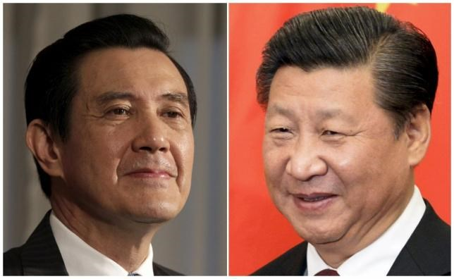 A combination photograph shows Taiwan President Ma Ying-jeou (L) listening to a question during an interview with Reuters at the Presidential Office in Taipei in this June 1, 2012 file photograph and Chinese President Xi Jinping (R) smiling before his meeting at the Diaoyutai State Guesthouse in Beijing, China October 29, 2015 file photo.