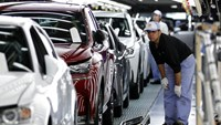 An employee inspects the paint finish of a Lexus NX SUV at the Miyata plant in Fukuoka Prefecture. Lexus has long prided itself for home-grown craftsmanship, with artisans on Japan assembly lines donning white gloves and honing years of factory experience before being entrusted to handle final inspections. Photo: Bloomberg