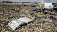 Debris belonging to the A321 Russian airliner at the site of the crash in Wadi el-Zolmat, a mountainous area in Egypt's Sinai Peninsula on November 1, 2015