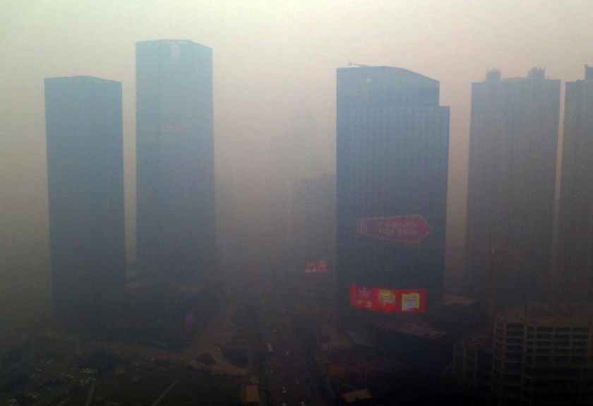 A residential block covered in smog in Shenyang, China's Liaoning province, on November 8, 2015