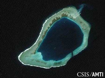 Subi reef, located in the Truong Sa (Spratly) Islands, claimed by Vietnam, in the South China Sea, is shown in this handout CSIS Asia Maritime Transparency Initiative satellite image.