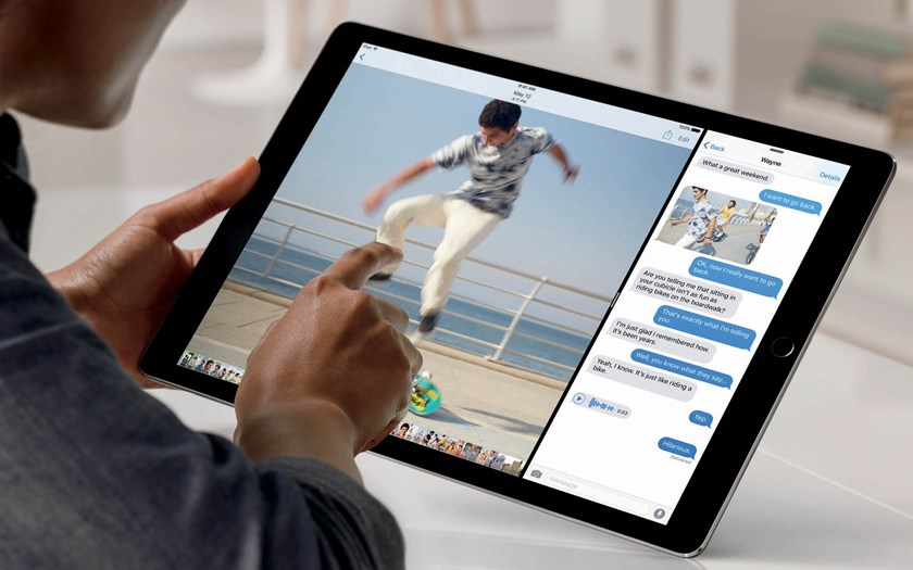 With a nearly 13-inch screen, the iPad Pro has enough space for two apps to be used simultaneously. Source: Apple