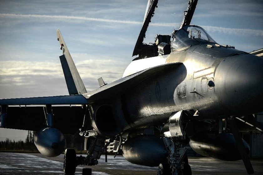 In this October 25, 2014 US Air Force handout image, a Royal Canadian Air Force CF-18 Hornet stands on alert at Canadian Forces Base, Goose Bay, Newfoundland, Canada