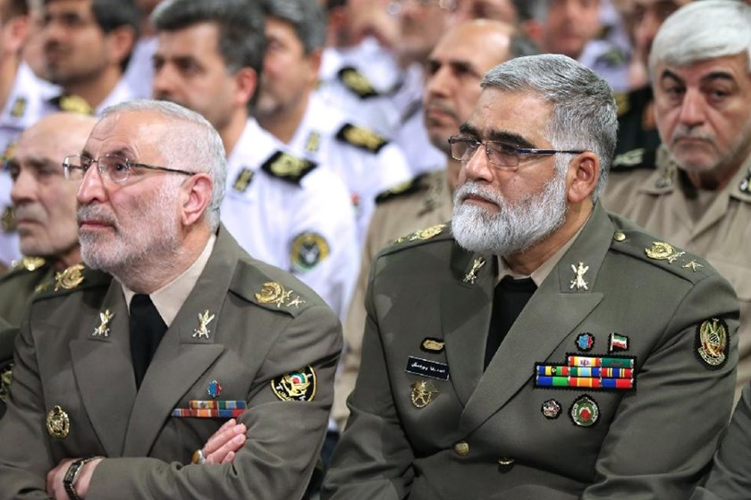 General Ahmad Reza Pourdastan (right), photographed in Tehran on April 19, 2015