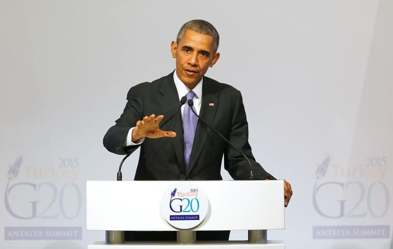 U.S. President Barack Obama addresses a news conference following a working session at the Group of 20 (G20) leaders summit in the Mediterranean resort city of Antalya, Turkey, November 16, 2015.