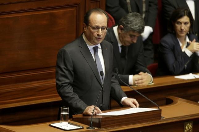 French President Francois Hollande delivers a speech at a special congress of the joint upper and lower houses of parliament (National Assembly and Senate) at the Palace of Versailles, near Paris, France, November 16, 2015.