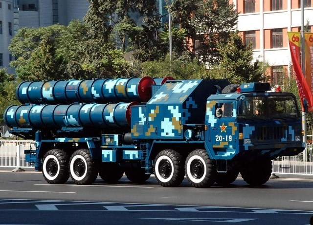 The Chinese version of the mobile launcher for the HQ-9 long-range ground-to-air missile.