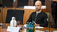 Brandon Bryant, photographed in Berlin on October 15, 2015 during a break in testimony on NSA spying, is among four former US drone operators who decried the technology's lethal use in an open letter published November 19