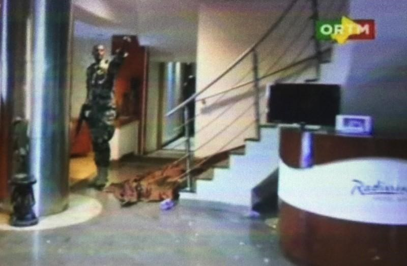 Still image from video shows the lobby of the Radisson hotel in Bamako, Mali, November 20, 2015.