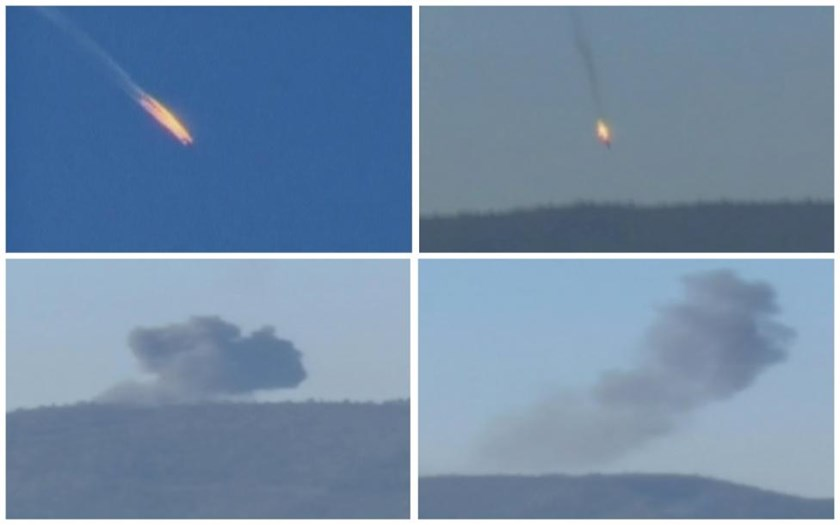 A combination picture taken from video shows a war plane crashing in flames in a mountainous area in northern Syria after it was shot down by Turkish fighter jets near the Turkish-Syrian border November 24, 2015.
