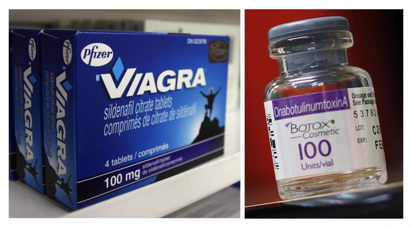 A box of Pfizer drug Viagra and a bottle of Allergan product Botox are seen in a combination of file photos.