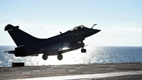 A French Rafale jet fighter takes off from Charles-de-Gaulle aircraft carrier on November 22, 2015