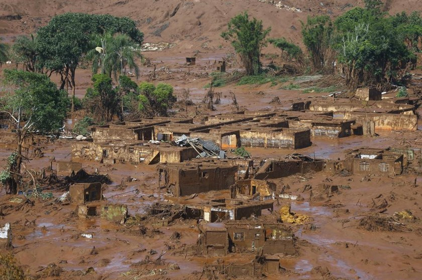 The Bento Rodrigues district is pictured covered with mud after a dam owned by Vale SA and BHP Billiton Ltd burst in Mariana, Brazil, November 6, 2015.