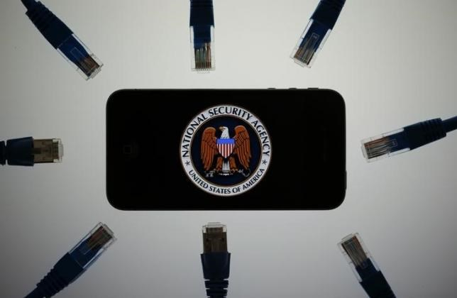 An illustration picture shows the logo of the U.S. National Security Agency on the display of a phone in Berlin, June 7, 2013.