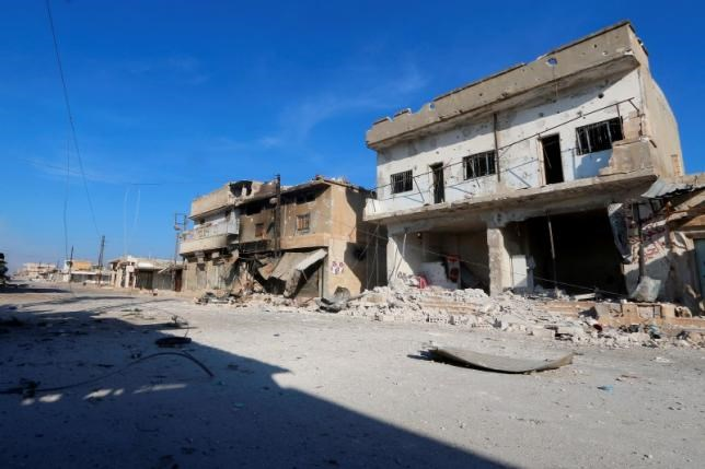 A general view shows a deserted street in the rebel-controlled area where forces loyal to Syria's President Bashar al-Assad carry out offensives to take control of the town of Kafr Nabudah, in Hama province, Syria, October 11, 2015.