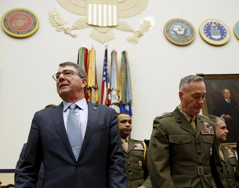 "U.S. Defense Secretary Ash Carter (L) and Joint Chiefs Chairman Marine Corps Gen. Joseph Dunford Jr., arrive to testify before a House Armed Services Committee hearing on ""U.S. Strategy for Syria and Iraq and its Implications for the Region"" in Washington December 1, 2015."