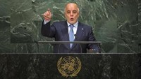 Iraqi Prime Minister Haider al-Abadi addresses attendees during the 70th session of the United Nations General Assembly at the U.N. Headquarters in New York, September 30, 2015.
