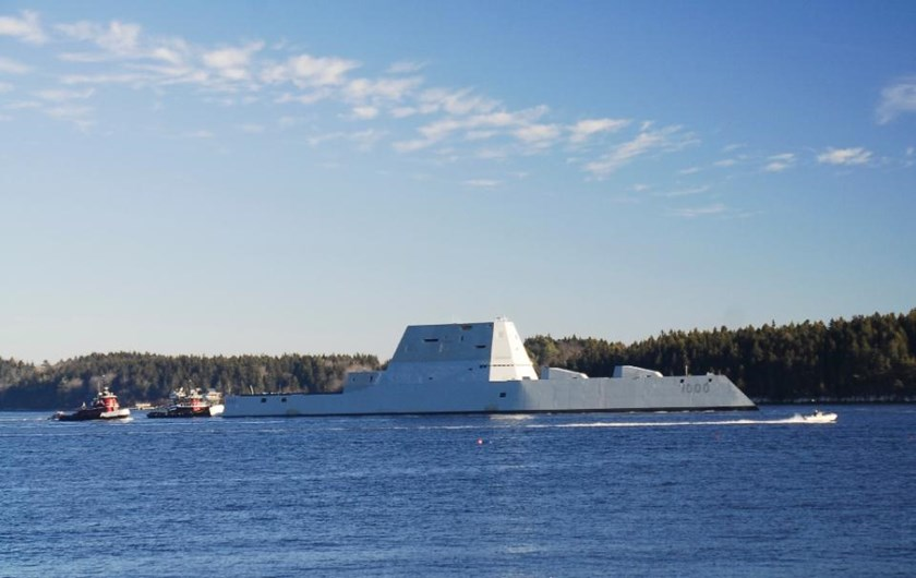 The USS Zumwalt gets underway for the first time, conducting at-sea tests and trials on December 7, 2015 on the Kennebeck River in Massachusetts
