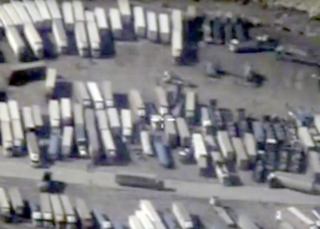 An undated still image taken from a video made available by the Russian Defence Ministry in Moscow, Russia December 2, 2015, shows the Turkish-Syrian border crossing.