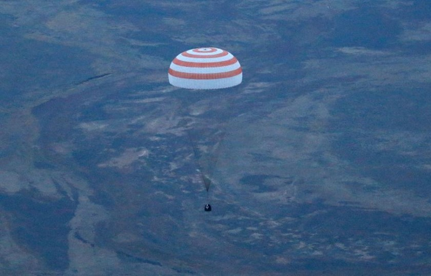 The Soyuz capsule landed in Kazakhstan at 1318 GMT